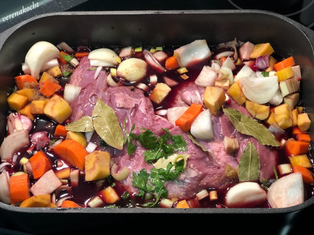 BIO Hüferl auf Gemüse Rotwein Creme